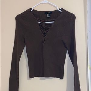 Forever 21 long sleeve ribbed crossed top